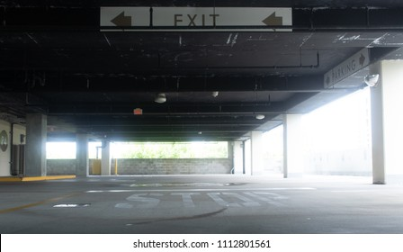 Wide angle shot of an empty parking garage