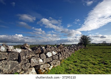 wide angle shot of a field in rural ireland