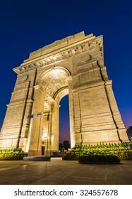 A wide angle shot of the India Gate (formerly known as the All India War Memorial) at Rajpath, New Delhi.