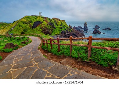 Wide angle shot at the main interest point in Seopjikoji in Jeju Island. Soft focus effect due to large aperture setting