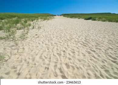 Wide angle shot of a perfect sand dune on a beach