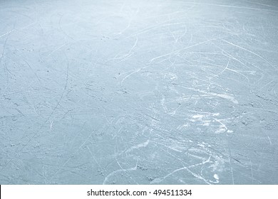 A wide angle shot of skate marked ice. Suitable for use as a background in a hockey related project.