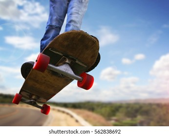 Wide Angle Shot Skateboarder Jumping On Stock Photo Edit Now