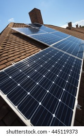 Wide Angle Shot of Solar Panels installed on Tiled Roof