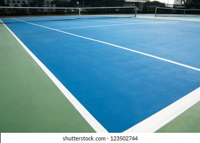 Wide angle shot of tennis court