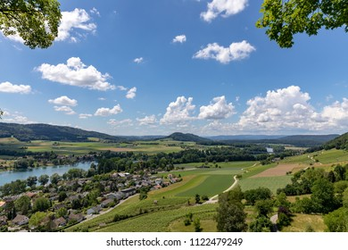 Wide angle shot of the upper Rhine valley on the Swiss – German border near the city of Stein am Rhein on a beautifully sunny late spring day.