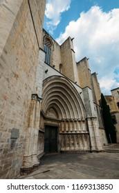 Wide angle South Door, Cathedral of Saint Mary of Girona, Girona, Catalonia, Spain.