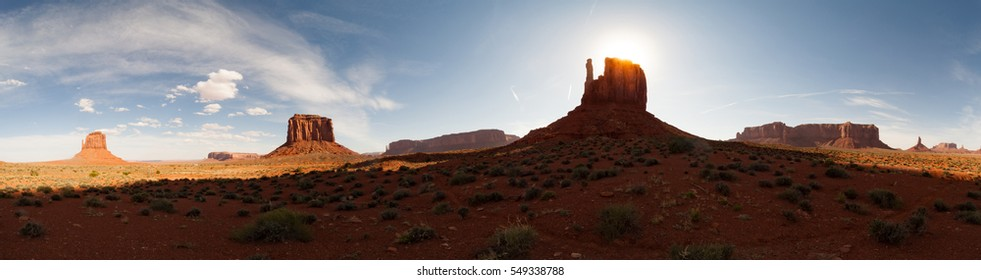 Wide angle super panorama of monument Valley's skyline
