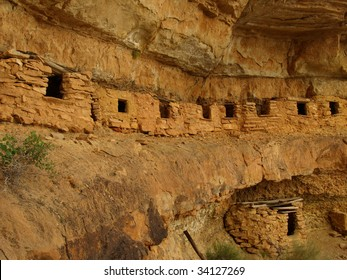 Wide angle view of ancient granaries built by prehistoric Native Americans and located in a remote part of Grand Canyon National Park, Arizona, USA.