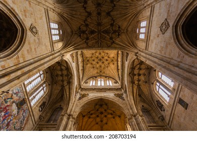 Wide angle view from the architectural structure of the central nave in the San esteban dominican convent Chruch in Salamanca Spain