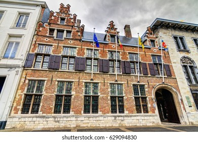 Wide angle view of the brick wall exterior of the 17th century Rubens house in Antwerp, Belgium