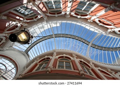 wide angle view of Cardiff arcade