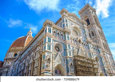 Wide angle view of The Cathedral of Santa Maria del Fiore with renovation going on.