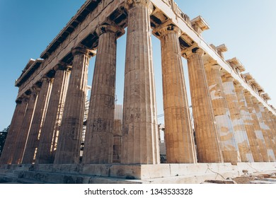 Wide angle view of the corner side of the ancient greek historical monument - Parthenon. Parthenon is a part of Athenian Acropolis in Athens, Greece.
