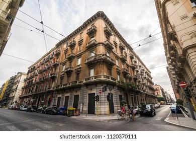 """Wide angle view of a crossroads in the """"Quartiere Murattiano"""" of Bari. Bari, Apulia, Italy, August 2017"""