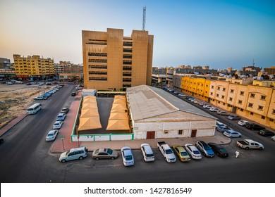 Wide Angle view of Dammam Street -Dammam Saudi Arabia. Photo taken Month of April  Date 27 Year 2018.