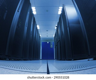 wide angle view data center in blue tone