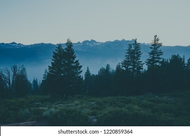 Wide angle view at dusk at Minaret Vista in Mammoth Lakes California, looking out to the San Joaquin Ridge