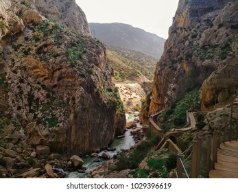 Wide angle view of 'El Caminito del Rey' King's Little Path footpath, one of the most Dangerous in the world, reopened in 2015. Malaga, Spain.