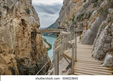 Wide angle view of 'El Caminito del Rey' (King's Little Path), one of the most Dangerous Footpath in the world reopened 2015. Malaga, Spain.