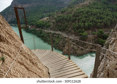 Wide angle view of 'El Caminito del Rey' (King's Little Path) footpath over water, one of the most Dangerous in the world, reopened in 2015. Malaga, Spain.