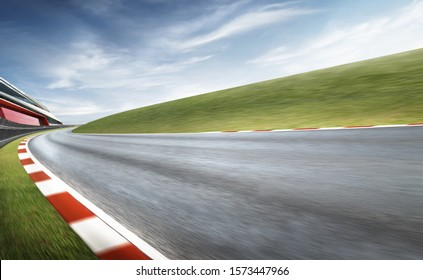Wide angle view empty asphalt international curvy racetrack , motion blur effect apply . Daytime scene .