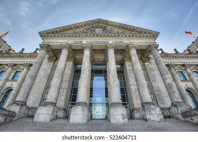 wide angle view of the entrance of the Reichstag building, seat of the German Parliament (Deutscher Bundestag), Berlin, Germany, Europe