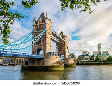 Wide angle view of the famous landmark of London Tower Bridge across the Thames river in England, UK