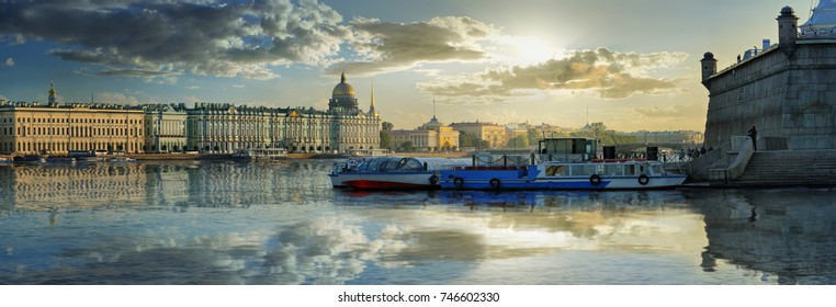 Wide angle view from the fortress overlooking the Neva river, the Hermitage and Palace quay in Saint Petersburg