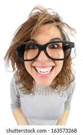 Wide angle view of a geek woman with glasses smiling isolated on a white background