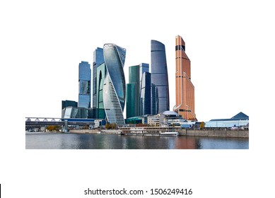 Wide angle view of high buildings in Moscow city district with reflections in river isolated on white background
