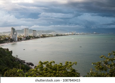 Wide angle view of the Hua Hin beach from Khao Takieb viewpoint, Thailand