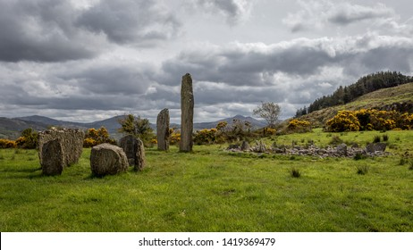 Wide angle view of Kealkill Stone Circle in Ireland