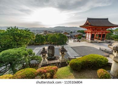 Wide angle view of Kiyomizu-Dera temple at sunset
