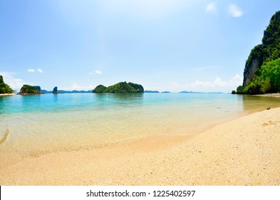 Wide angle view of Koh Pak Bia among the Hong islands archipelago in the Phang Nga Bay