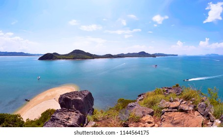 Wide angle view of Koh Yao Noi from the top of Koh Nok
