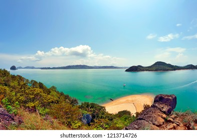 Wide angle view of Koh Yao Yai and Koh Yao Noi from the top of Koh Nok in the Andaman Sea, Phang Nga Bay, Thailand