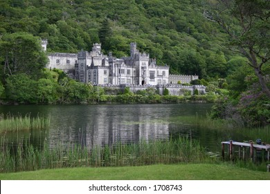 Wide angle view of Kylemore Abbey