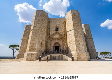 Wide angle view of main entrance of Castel del Monte, an UNESCO World Heritage Site. Andria, Apulia, Italy, August 2017