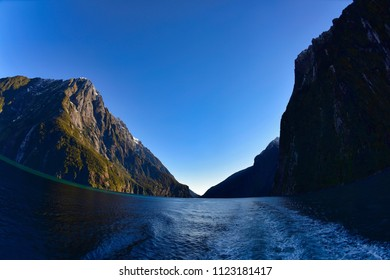 Wide angle view of Milford Sound in Fiordland National Park, New Zealand