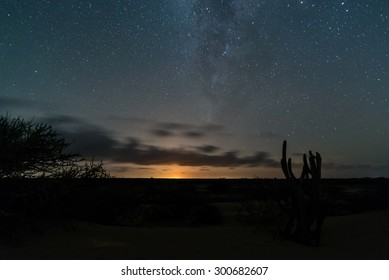 Wide angle view of the Milky Way, taken from the venezuelan deserts in Paraguana peninsula
