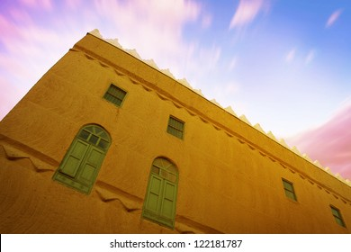 A wide angle view of an old mud house, found in Saudi Arabia.