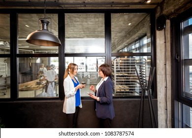 Wide angle view on the modern office of the bakery with two business women standing together