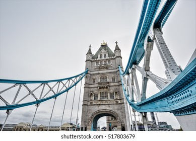 Wide angle view on Tower Bridge, London, UK, Europe