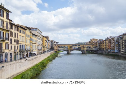 Wide angle view over River Arno in Florence