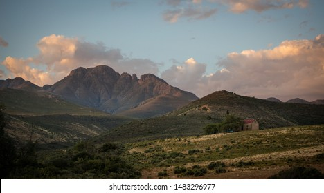 Wide angle view over the Swartberg mountains outside the karoo town of uniondale in the Little Karoo region in south africa