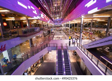 Wide angle view over Westfield Shopping Mall in Stratford - LONDON / ENGLAND - SEPTEMBER 14, 2016