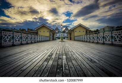 Wide angle view of Penarth Pier