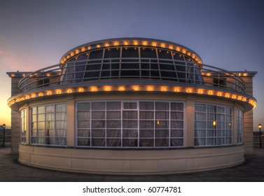 Wide angle view of restaurant at end of pier