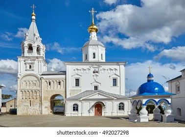 Wide angle view of Russian orthodox churches under blue sky in summer in Vladimir